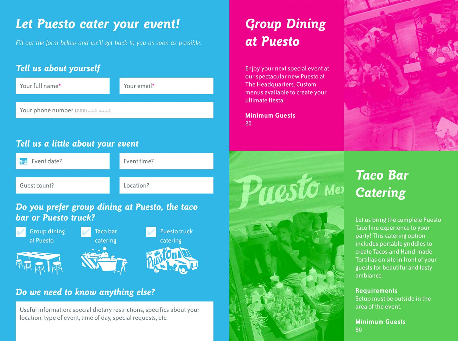 Puesto catering page